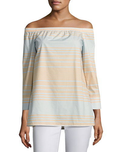 Amy Striped Off-the-Shoulder Cotton Blouse, Multi
