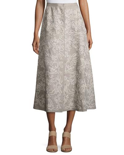 Embroidered Linen Midi Skirt, Gray