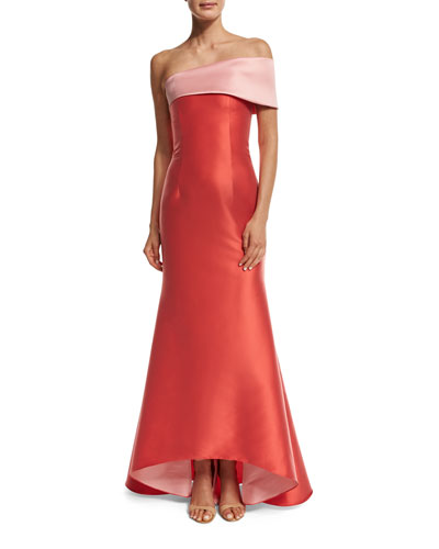 Two-Tone Stretch Jacquard Mermaid Gown, Coral