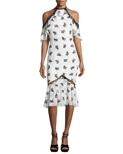 Cold-Shoulder Printed Burnout Midi Dress, Ivory