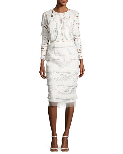 Tiered Lace & Georgette Midi Dress, Ivory