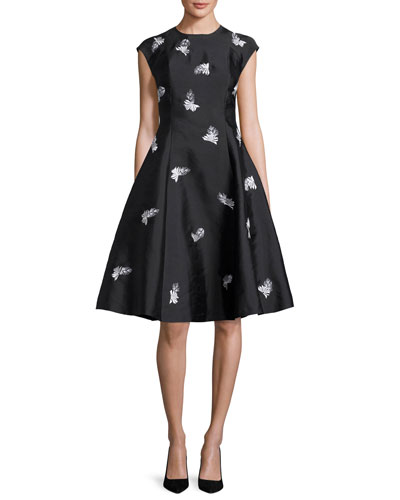 Cap-Sleeve Floral Embroidered Fit-and-Flare Jacquard Dress, Onyx