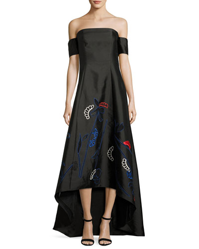 Off-the-Shoulder Jacquard High-Low Gown, Onyx