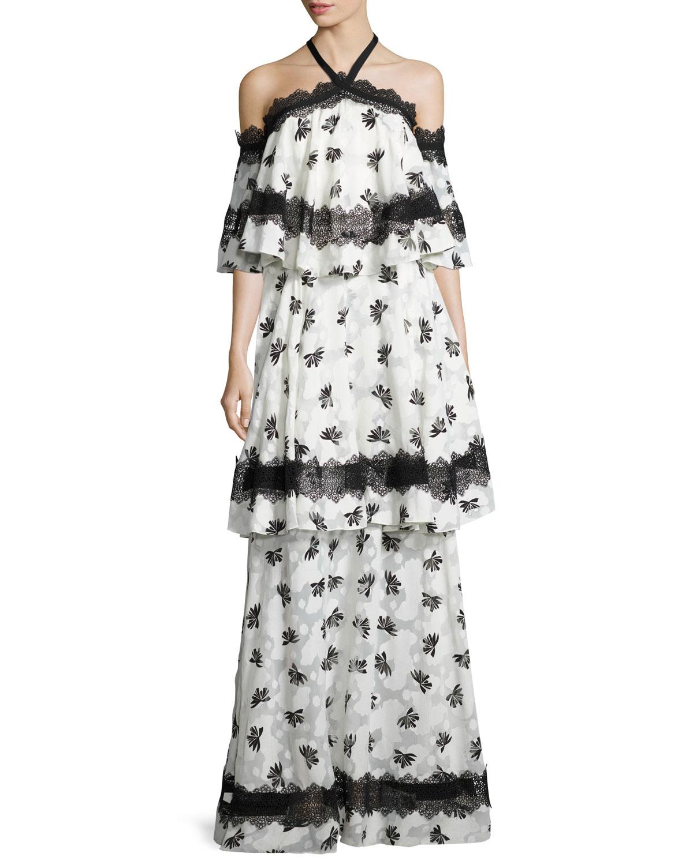 Tiered LaceTrim Burnout Maxi Dress Ivory