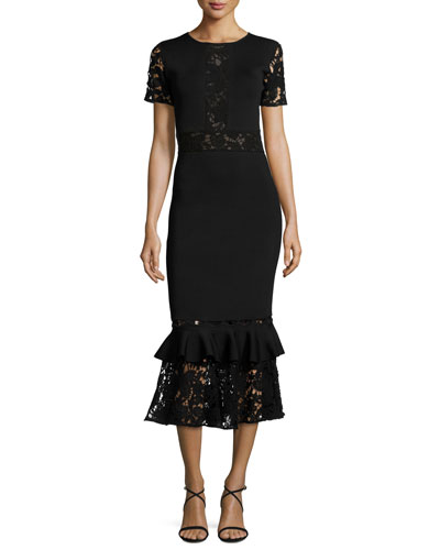 Short-Sleeve Lace & Ponte Midi Dress, Onyx