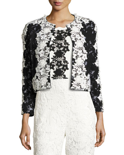 Two-Tone Floral Lace Open-Front Jacket, Onyx
