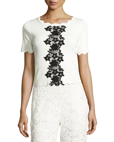 Short-Sleeve Scalloped Jersey Top, Ivory