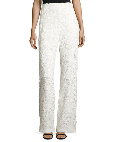 Floral Lace Wide-Leg Pants, Ivory