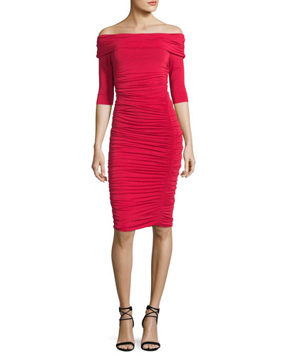 Off-the-Shoulder Ruched Cocktail Dress, Red