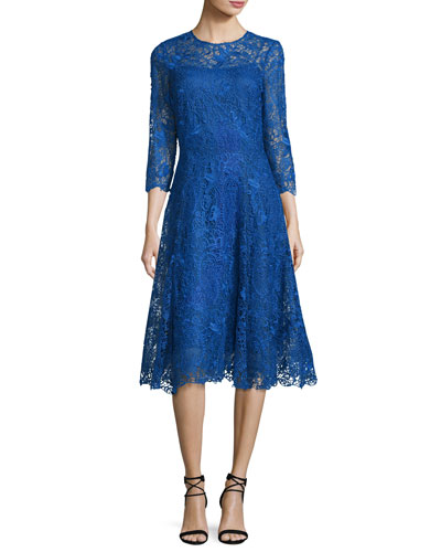 Lace Fit & Flare Midi Dress, Royal Blue