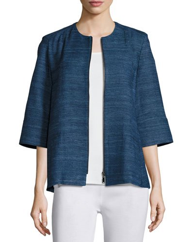 Half-Sleeve Silk Textured Zip-Front Jacket
