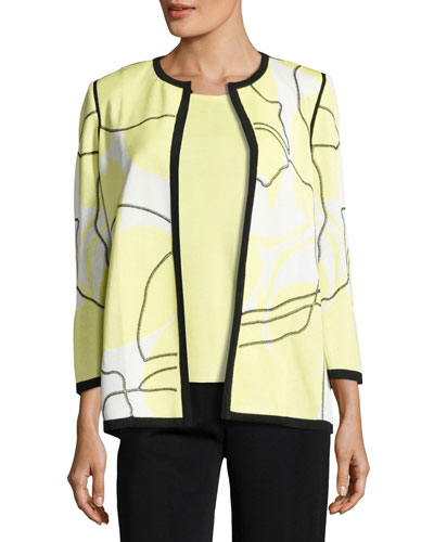 3/4-Sleeve Wild Abstract-Print Open Jacket, Daiquiri Green, Plus Size