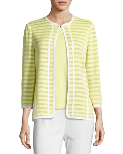 Striped Ribbon-Trim Textured Jacket, Daiquiri Green, Plus Size