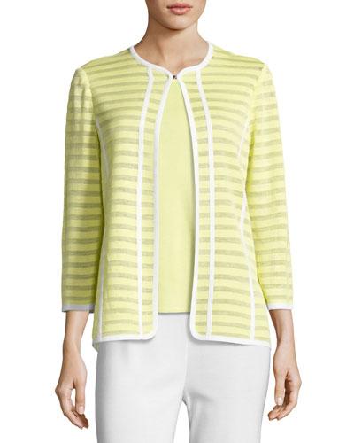 Striped Ribbon-Trim Textured Jacket, Daiquiri Green, Plus Size