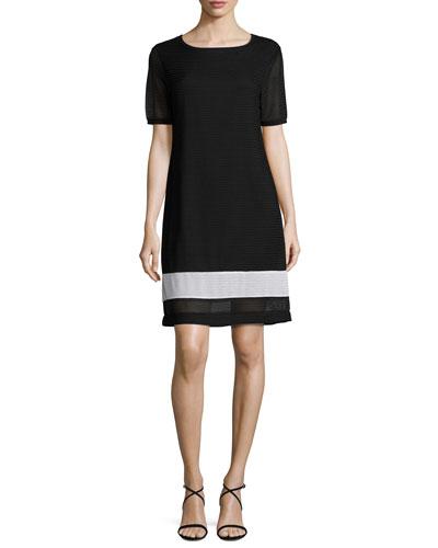 Rochelle Sheath Border-Stripe Dress, Plus Size