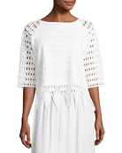 Woven Lace Top, White