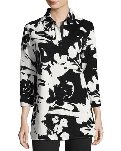 Floral-Print Pique Tunic, Plus Size