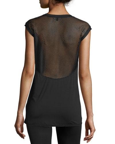Mesh-Back Cap-Sleeve Sport Tee, Black