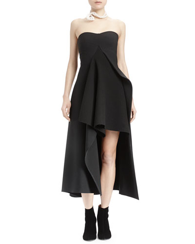 Strapless Split-Front Asymmetric Gown, Black