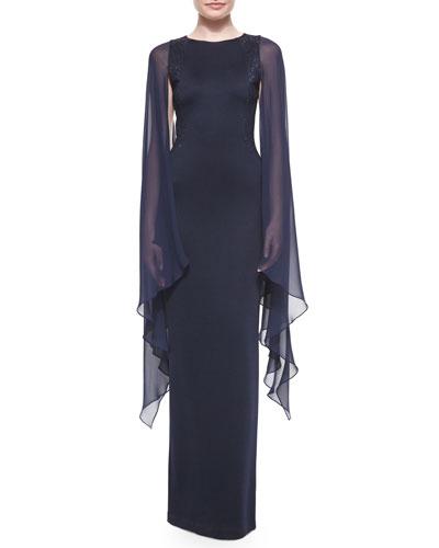 Beaded Cape-Sleeve Column Gown