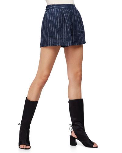 Linen Pinstripe Utility Shorts, Navy
