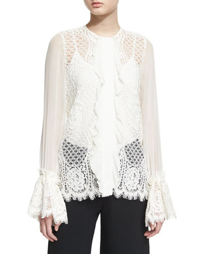 Amilina Long-Sleeve Lace Silk-Trim Top