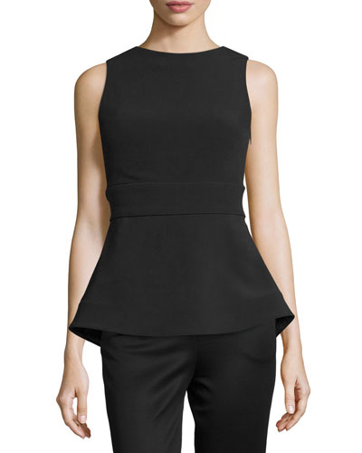 Sleeveless Scoop-Back Peplum Top