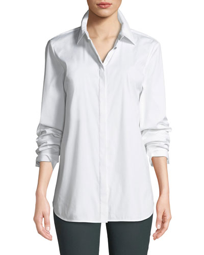 e52b3a44074a Quick Look. Lafayette 148 New York · Brody Long-Sleeve Poplin Blouse ...