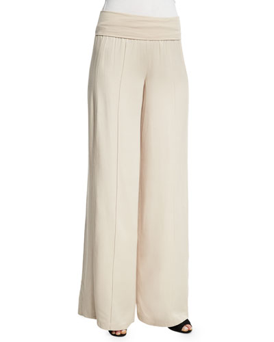 Wide-Leg Yoga Pants, Almond