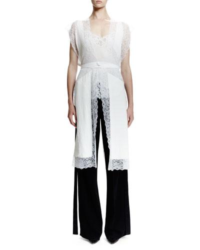 Open-Back Lace-Trimmed Silk Vest, White
