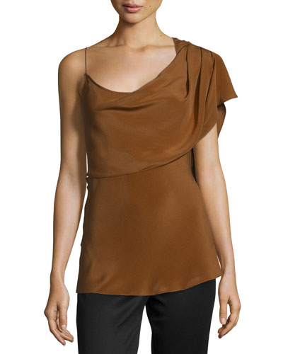 One-Shoulder Draped Tank Top, Tan/Camel
