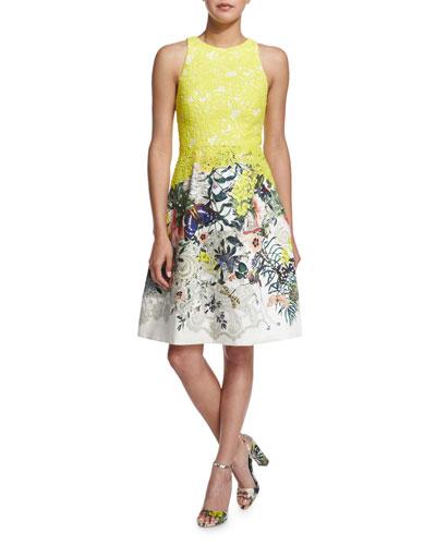 Sleeveless Fit-&-Flare Dress, Yellow