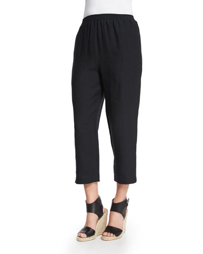 Cropped Linen Trousers, Black