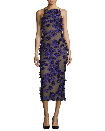 Halter-Neck Cocktail Midi Dress w/Floral Appliques, Black/Iris