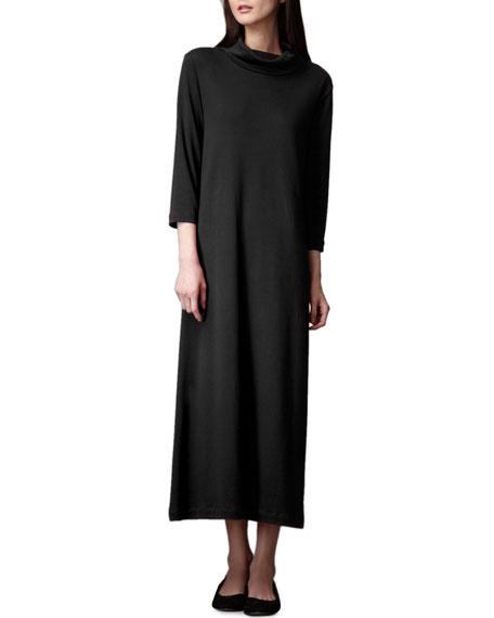 Joan Vass Petite Turtleneck Maxi Dress, Black