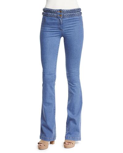 Biscayne Braided-Waist Boot-Cut Jeans