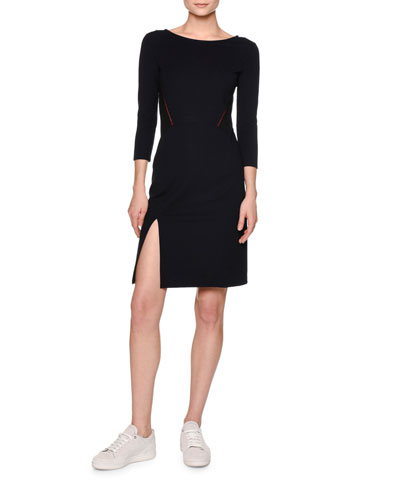 Contrast-Stitching Sheath Dress, Navy/Black/Red
