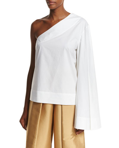 Freja One-Shoulder Boxy Poplin Top, Cream