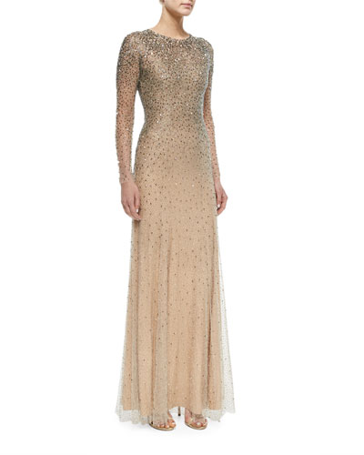 Long-Sleeve Embellished Gown