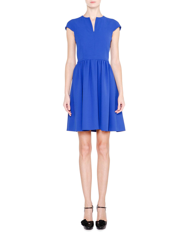 Cap-Sleeve Fit-&-Flare Dress, Egyptian Blue