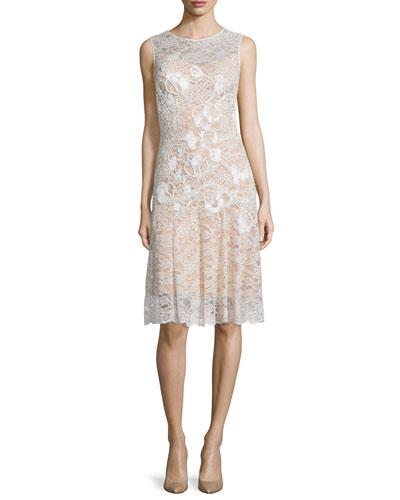 Embellished Lace Cocktail Dress