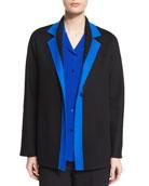 Contrast-Trim Long-Sleeve Jacket, Black/Blue