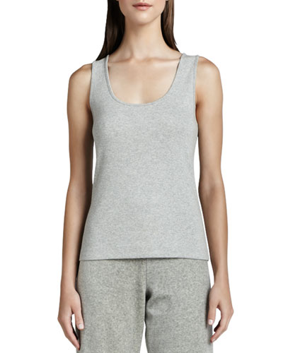 Scoop-Neck Cotton Tank, Gray