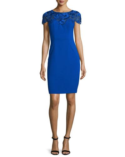 Short-Sleeve Embroidered-Yoke Sheath Dress, Sapphire