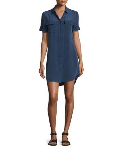 Slim Signature Short-Sleeve Shirtdress