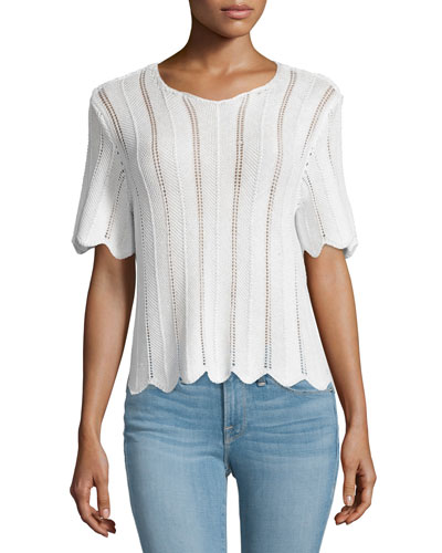 Crochet Short-Sleeve Boxy Top, Blanc