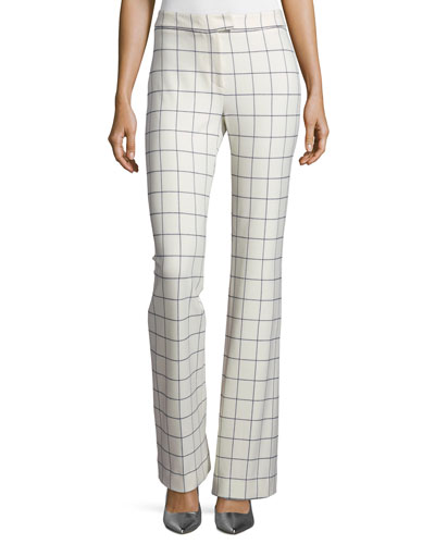 Grid-Print Flared Pants