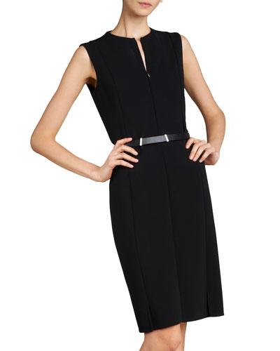 Sleeveless Zip-Front Sheath Dress, Black