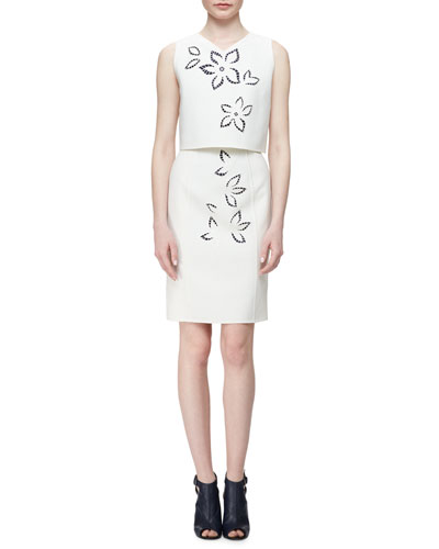 Popover Sheath Dress W/Floral Cutouts, White