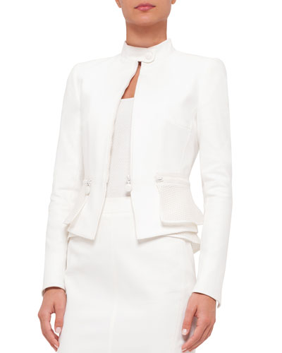 Zip-Front Mesh-Peplum Jacket, Cream